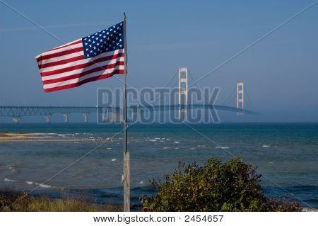 Bridge And Flag