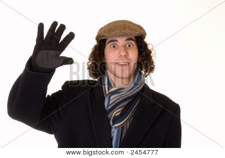 Waving Young Man