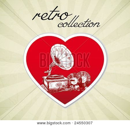 Vintage gramophone - love retro collection