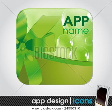 blank app icon for mobile devices  with a ribbon