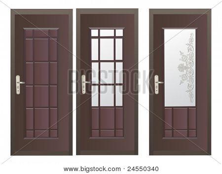 Ilustración con tres puertas oscuros, aislado sobre fondo blanco