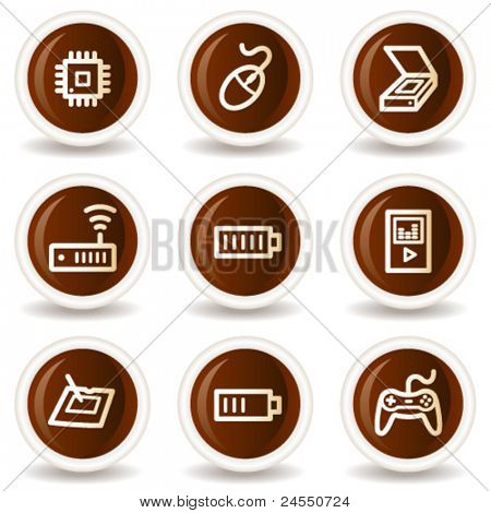 Electronics web icons set 2, chocolate buttons