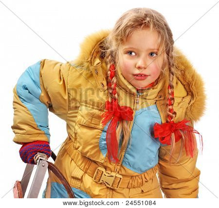 Little girl holding sleigh on white.