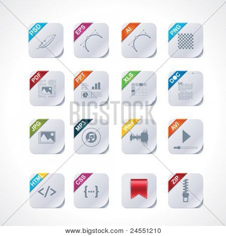 Conjunto de iconos de etiquetas de archivo cuadrado simple