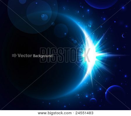 Rising Sun over the planet. Vector space background.