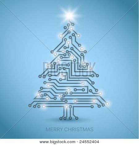 Vector christmas tree from digital electronic circuit - blue version with white lights