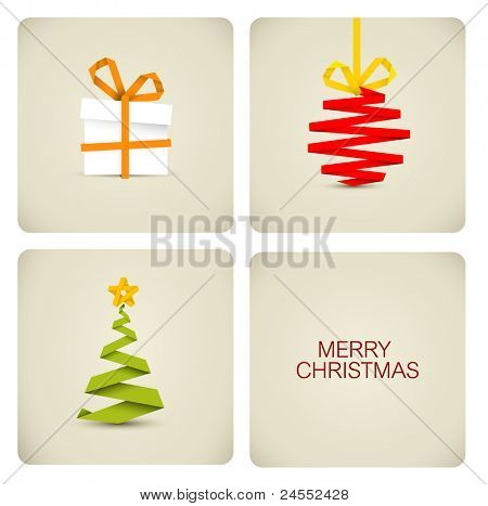Simple vector christmas decoration made from white paper stripe - original new year card