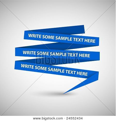 Vector Blue speech bubble made from paper on white paper