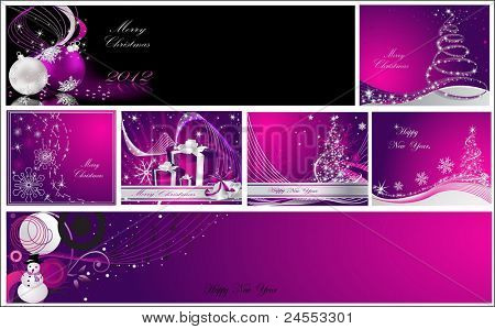 Merry Christmas and Happy New Year collection silver and violet