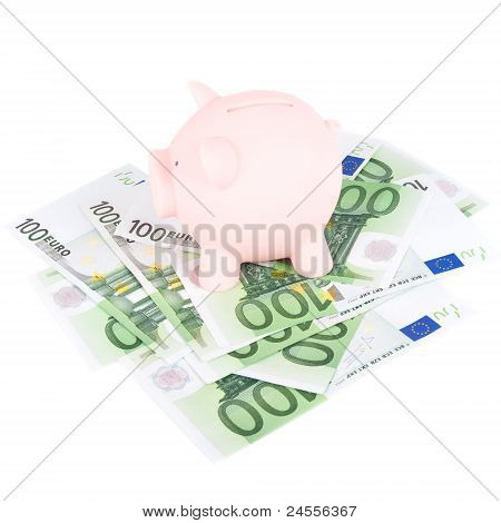 Hundred Euro Banknotes And Coinbank