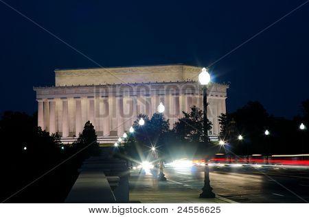 Abraham Lincoln Memorial at night, Washington DC USA