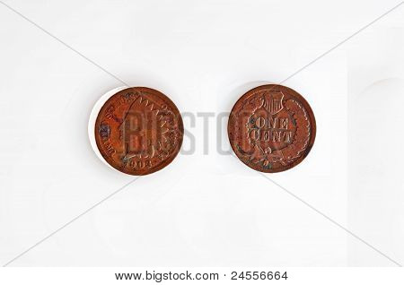 American 1903 Indian Head Penny Isolated On White