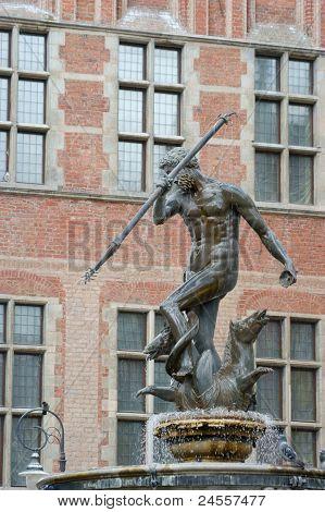 Elegant Fountain Neptune, Danzing, Gdansk, Poland.