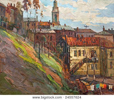 Kind on city, oil on a canvas