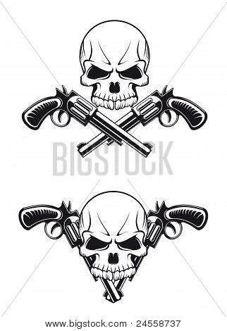 Schädel mit Gewehren