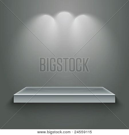 3d isolated empty shelf