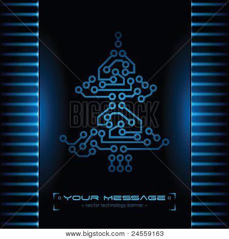 Christmas tree design. Technology background.