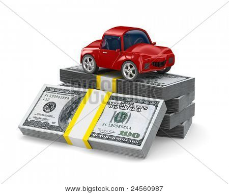 Red car on dollars. Isolated 3D image