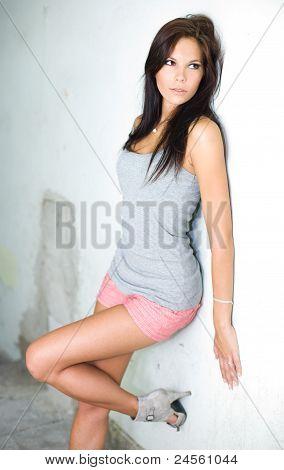 Brunette Hottie Posing For The Camera