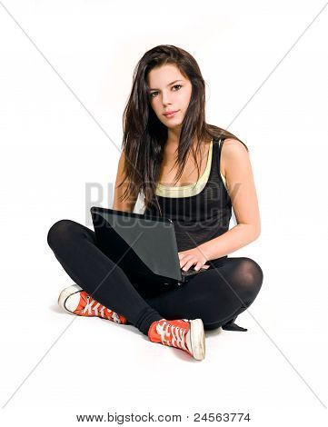 Gorgeous Young Brunette Using Laptop.
