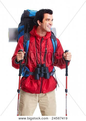 Hiker man  tourist. Isolated over white background.