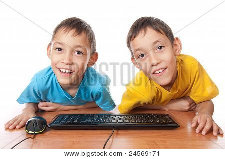 Twins With Computer Mouse And Keyboard