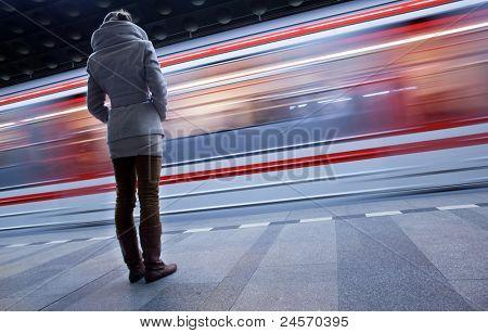 Subway station (motion blurred & color toned image)