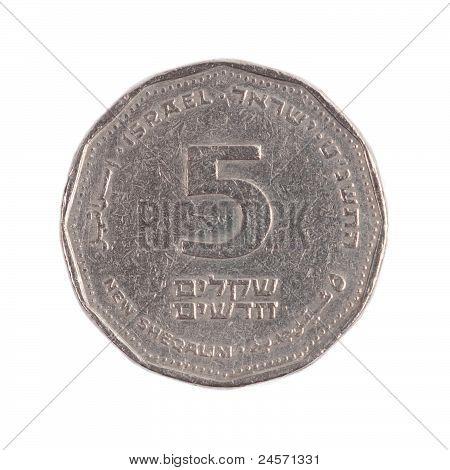 Five Israeli New Sheqels