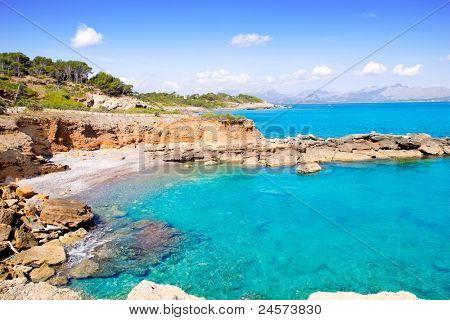 Alcudia in Mallorca la Victoria turquoise beach near s Illot from Balearic Islands