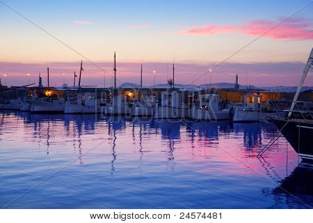 Formentera pink sunset in port marina of Mediterranean Balearic