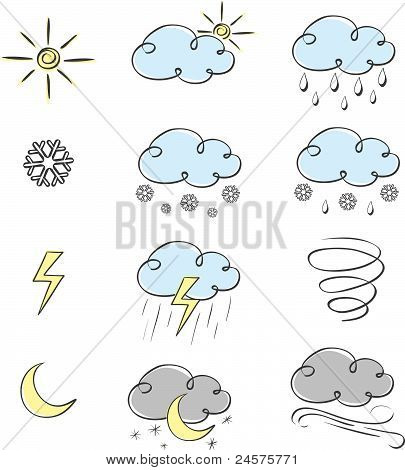 Hand drawn cute weather icons collection
