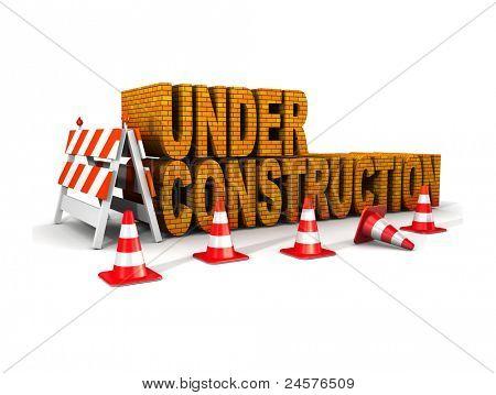 en construcción! con conos de tráfico