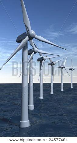 Offshore Wind Turbines In Portrait