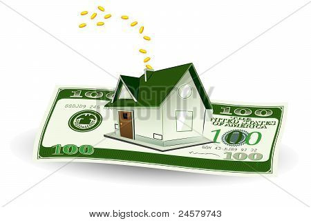 house on dollar note
