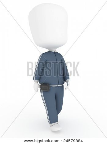 3D Illustration of a Walking Man Wearing a Pedometer