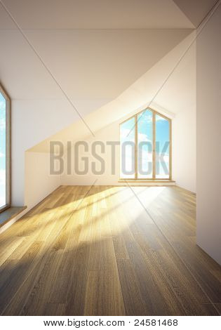 3d rendering the empty mansard room with windows