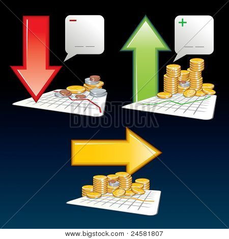 Financial Graph with Falling, Rising and Straight Arrows, set of vector illustrations