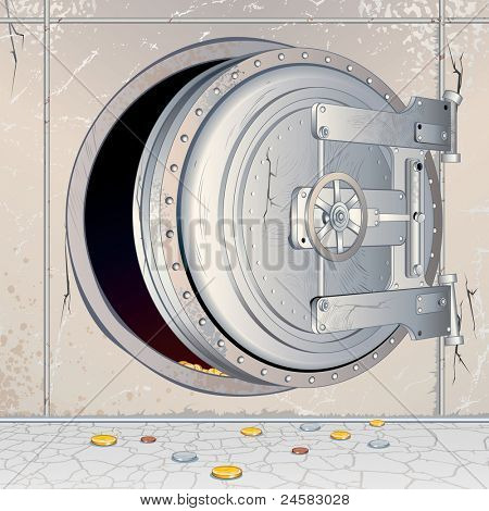 Opened Bank Vault Door with an empty Storage, Depository. Conceptual Illustration for Financial Crisis theme