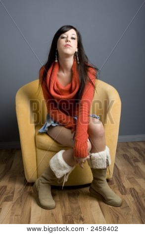 Teen Girl Sitting In Chair
