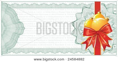 """Golden Christmas Gift Certificate or Discount Coupon template / with text """"Marry Christmas"""" on background / vector"""