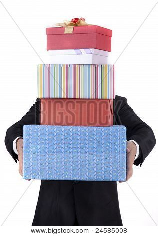 Businessman With Christmas Gifts