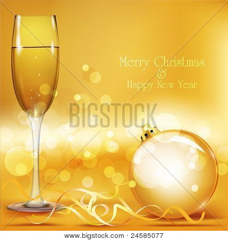 Vector Holiday Background With New Year's Balls And Glasses Of Champagne