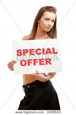 Lovely Girl Holding Special Offer Board