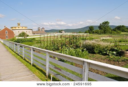 Panoramic view of buildings and country scenery