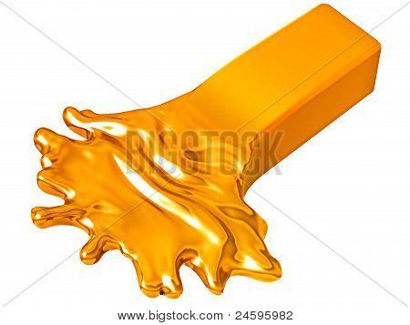Depreciation: Melting Goldbar Isolated On White