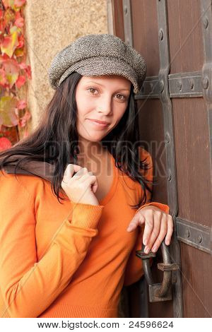 Autumn Portrait Of Beautiful Young Female Model