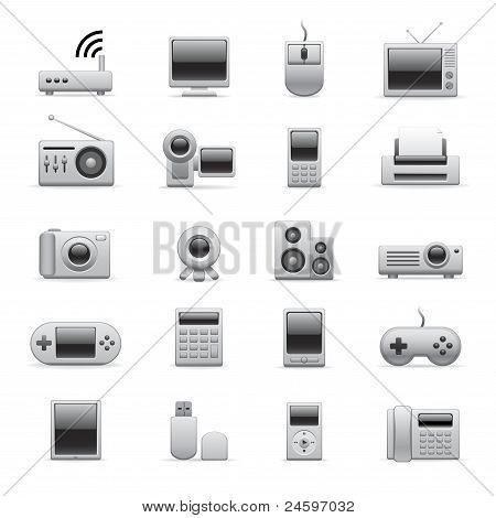 Iconos electrónicos plateado