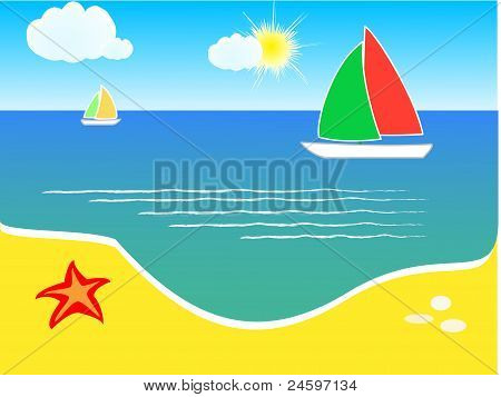 Beach and yacht on sea, summer