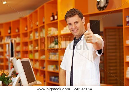 Pharmacist Holding His Thumbs Up