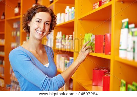 Customer At Shelf In Drugstore